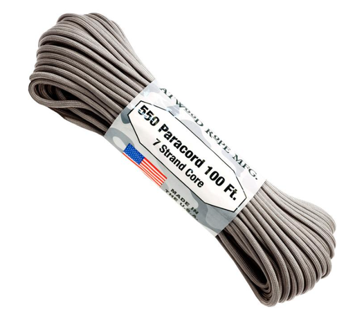 Atwood Rope 550 Paracord 7 Strand Core Platinum  100 ft