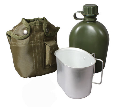 G.I. TYPE 1QT PLASTIC CANTEEN WITH COVER AND CUP