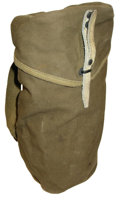 French Olive Gas Mask Bag Leather Closure