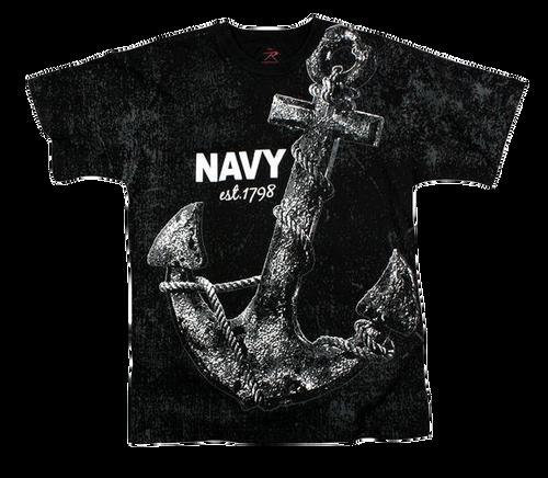 VINTAGE BLACK NAVY ANCHOR T-SHIRT