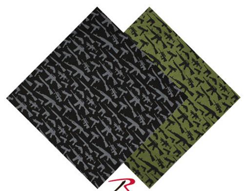 BANDANA - GUN PATTERN - BLACK OR OLIVE DRAB
