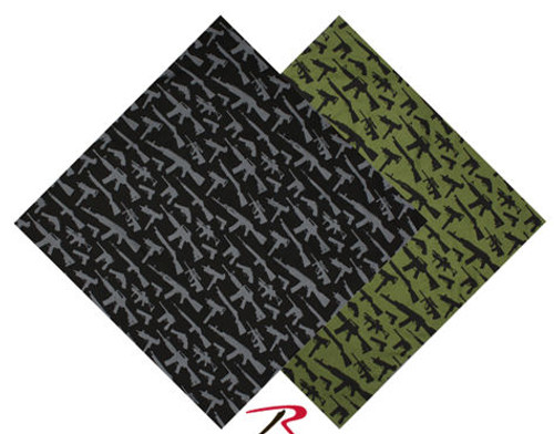 BANDANA - GUN PATTERN - BLACK OR OLIVE DRAB