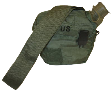 2QT 2 QUART OD CANTEEN TAN CARRIER US MILITARY ALICE CLIPS COVER POUCH STRAP NOS