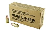 REMINGTON Mil-LE Overrun 9mm 115 Grain FMJ 1145fps 50 Round Box of Ammunition (B9MM3)