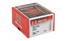 HORNADY Match .30 Cal 168 Grain 100ct Box of Boat Tail Hollow Point Bullets for Reloading (30501)