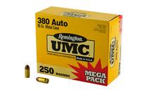 REMINGTON UMC 380 ACP 95 Gr FMJ 250 Rd Box Pistol Ammo