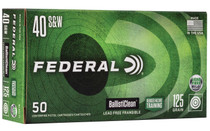 FEDERAL BallistiClean .40 S&W 125 Grain 50rd Box of Reduced Hazard Training Lead Free Frangible Pistol Ammunition (BC40CT1)