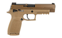 SIG P320 M17 9mm Semi-Auto 4.7in 17rd x2 Mags Siglite Night Sights DP Pro Plate Manual Safety Coyote Brown Full Size Pistol (320F-9-M17-MS)