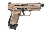CANIK TP9 Elite Combat 9mm Luger 4.73in Threaded Barrel 18 Rounds Desert Tan Polymer Frame FDE Cerakote Finish Semi Auto Pistol (HG4617D-N)