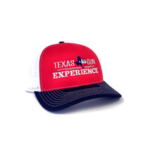 TGE Branded Red and White Trucker Style Snap Back Hat (TGETRUCKRW)