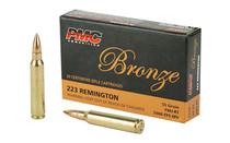 PMC Bronze 223 Rem 55 Grain 20 Round Box of Full Metal Jacket Centerfire Rifle Ammunition (223A)