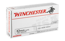 WINCHESTER Ammunition 10MM 180 Grain Full Metal Jacket 50 Round Box of Centerfire Pistol Ammunition (USA10MM)