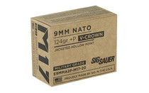 SIG SAUER V-Crown 9mm M17 124Gr +P 20Rd Box of JHP Handgun Ammunition (E9MMA2P-M17-20)
