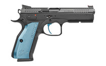"""CZ Shadow 2 9mm 4.89"""" Barrel 3x Mags 17Rd Single Action Only Semi-Automatic Steel Frame Pistol with Rail & Blue Aluminium Grips (91245)"""