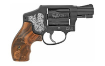 "Smith & Wesson Model 442 38 Special 1.875"" Barrel 5Rd Small Frame Revolver Engraved with Wood Grips and Blued Finish (150785)"
