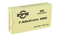 PPU 7.62x51 145Gr 20Rd Box of Mil-Spec M80 FMJ Boat Tail Rifle Ammunition (PPN762)