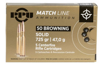 PPU Match 50BMG 725Gr 5Rd Box of Solid FMJ Rifle Ammunition (PPM500)