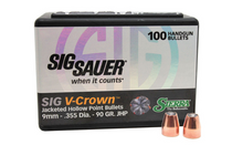 SIERRA BULLETS Sig Sauer V-Crown 9mm 90 Grain 100Ct Box of Jacketed Hollow Point Bullets for Reloading (9990)