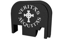 BASTION Black and White Veritas Aequitas Slide Back Plate for Glock (BASGL-SLD-BW-VRITAS)