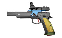 """CZ 75 TS Czechmate Parrot 9mm Luger 5.23"""" Cold Hammer Forged Barrel 1-27Rd Mag 3-20Rd Mags 4 Port Compenator Aluminum Grips Semi-Automatic Pistol with C-More 5 MOA Dot (91175)"""