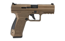 "CANIK TP9DA 9mm Luger 4.07"" Match Grade Barrel 18Rd Mag Polymer Frame Burnt Bronze Finish DA/SA Semi-Automatic Pistol (HG4873B-N)"