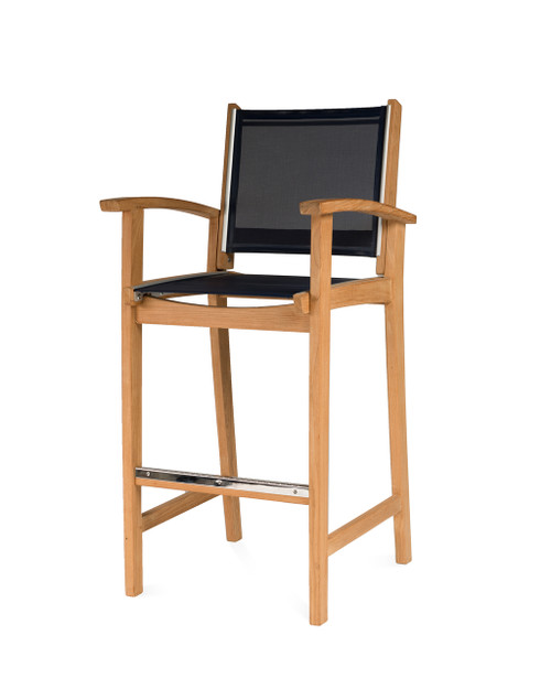 Bayhead Bar Chair with Arms and Navy Sling