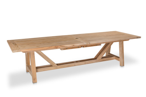 "Lakewood 160"" Extension Dining Table w/ Trestle Base, Natural Teak"