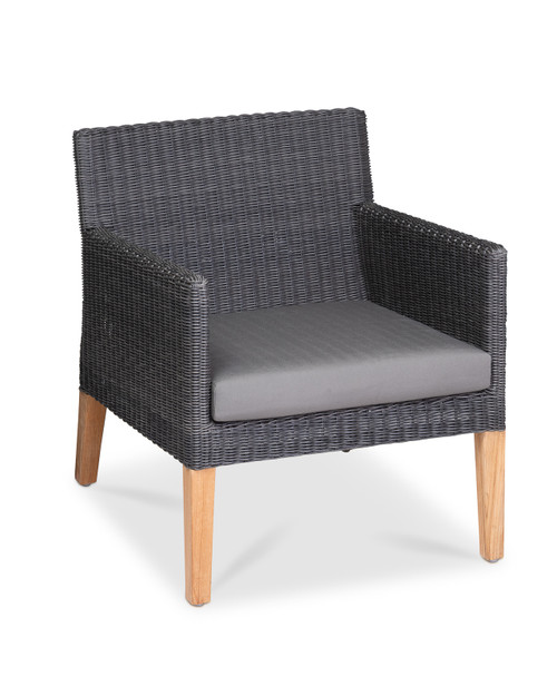 Cape Club Chair, Slate Wicker with Smoke Cushion