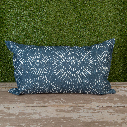"Blue Borneo Toss Pillow 12"" x 22"" Kidney"