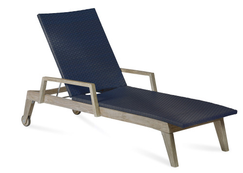 Summit Wicker and Teak Chaise Lounge, Navy