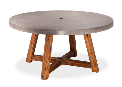 "59"" Bridge Round Dining Table w/ Umbrella Hole and Acacia Base"