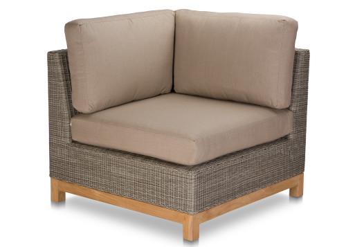 Savannah Left-Right Corner Sectional - Grey Wicker w/ Cushions
