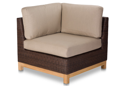 Savannah Left-Right Corner Sectional - Brown Wicker w/ Cushions