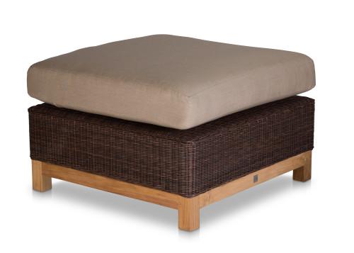 Savannah Ottoman, Brown Wicker w/ Cushion