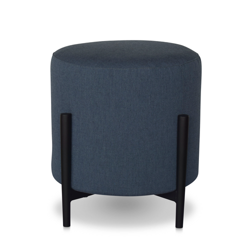 17'' Upholstered Round End Table/Pouf w/ Legs-Denim