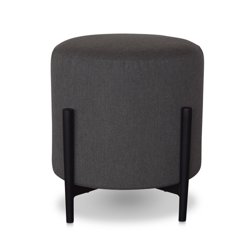 17'' Upholstered Round End Table/Pouf w/ Legs-Graphite