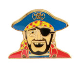 Pirate with Blue Hat Lapel Pin