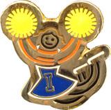 Stick Figure Cheerleader wyellow pom-poms Lapel Pin (CHR-203)
