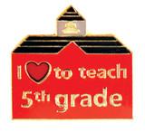 I (heart) to teach 5th grade Lapel Pin