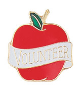"Apple with ""Volunteer"" ribbon Lapel Pin"