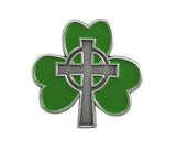 Shamrock with Cross Lapel Pin