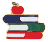 Books stacked with apple on top Lapel Pin