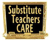 Substitute Teachers Care Lapel Pin