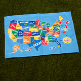 Cloth Map of The United States in Color