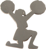 Cheerleader on one Knee (nickel plated) Lapel Pin (CHR-206S)