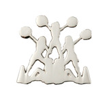 Cheerleader Pyramid (nickel) Lapel Pin (CHR-233S)