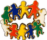 Children in Circle (7 Color Options) Lapel Pin