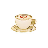 Coffee Cup with Heart (Gold Tone) Lapel Pin