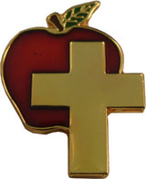 Apple w/large Gold Cross Lapel Pin