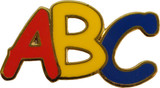 ABC in red, yellow and blue Lapel Pin